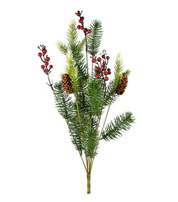 Blooming Holiday Christmas Glisten Pine Branch Bush with Red Berries