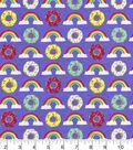 Snuggle Flannel Fabric -Rainbows & Donuts