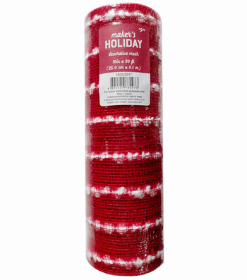Maker's Holiday Decorative Mesh Ribbon 10''x30'-Red with White Puffs