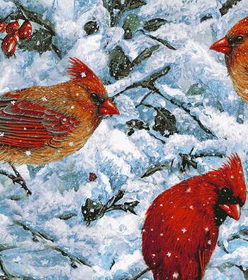 "Anti-Pill Fleece Fabric 58""-Snowy Cardinals"