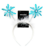 hildie & jo Holiday Headband-White And Blue Snowflake, , hi-res