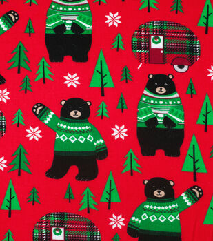 Super Snuggle Flannel Fabric-Bears & Christmas Campers