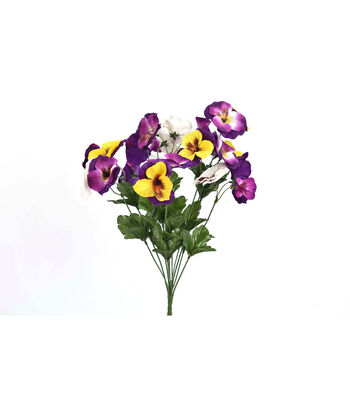 Fresh Picked Spring 19'' Pansy Bush-Purple & Yellow