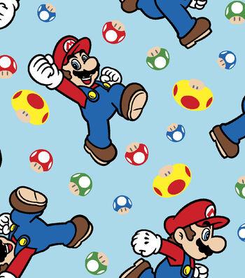 Nintendo Super Mario Flannel Fabric-Tossed Mario & Mushrooms