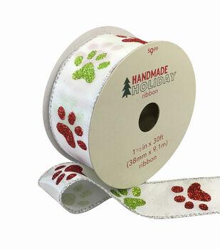 Handmade Holiday Ribbon 1.5''x30'-Red & Green Glitter Paw Prints