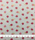Doodles Juvenile Apparel Fabric-Pink Foil Strawberries on Heather Gray