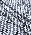 Silky Print Rayon Fabric 53\u0027\u0027-Black & Gray Leaves on White