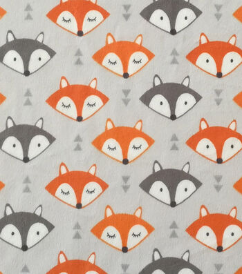 "Soft & Comfy Fleece Fabric 57""-Fox Faces"