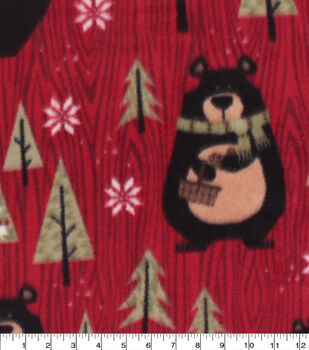 Christmas Anti-Pill Plush Fleece Fabric-Northwoods Bears & Trees