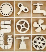 Kaisercraft Factory 42 40 pk Mini Themed Wooden Flourishes-Mechanisms, , hi-res