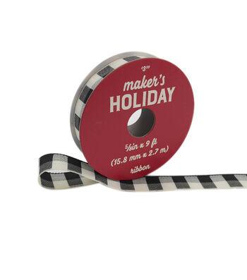 """Maker's Holiday Buffalo Check Ribbon 5/8""""x9'-Black Ivory Check"""