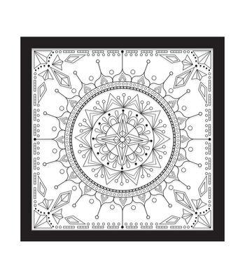 12x12 Color In Kaleidoscope 1 Float Frame-Black