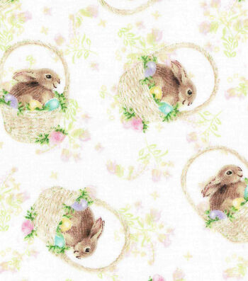 Easter Cotton Fabric -Bunny in Basket