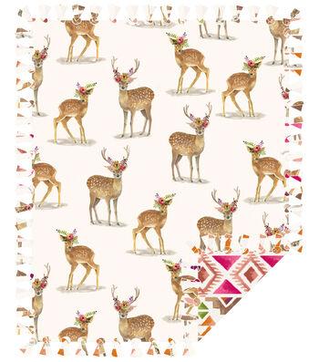 "Fleece No Sew Throw 72""-Boho Deer"