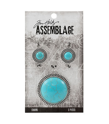 Tim Holtz Assemblage Pack of 3 Medallions Charms-Turquoise