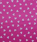 Glitterbug Satin Fabric -Pink & White Heart