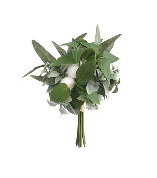 Blooming Autumn Mood Green Leaf & Pom Pom Bouquet
