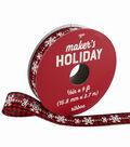Maker\u0027s Holiday Ribbon 5/8\u0027\u0027x9\u0027-Snowflakes & Bows on Red & Black Plaid