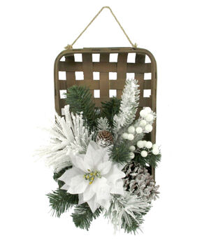 Handmade Holiday Christmas Frosted Pine & White Poinsettia Basket Wreath