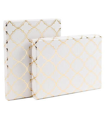 DCWV Designer Set of A6 Boxes: White with gold foil