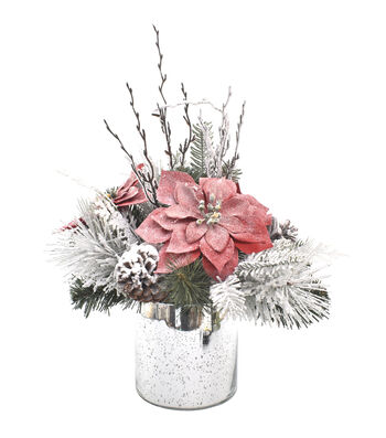 Blooming Holiday 13'' Frosted Poinsettia & Pinecone Arrangement