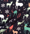 Doodles Christmas Cotton Fabric 57\u0022-Navy Holiday Deer With Foil