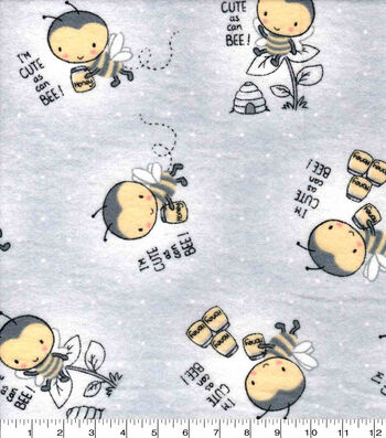 Nursery Flannel Fabric-Bees on Gray