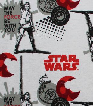 """Star Wars: The Last Jedi Flannel Fabric 42""""-Red & BB8"""