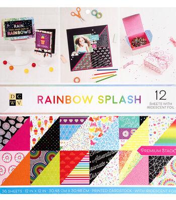 DCWV 36 pk 12''x12'' Premium Printed Cardstock Stack-Rainbow Splash