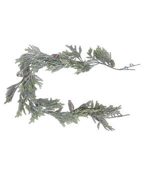 Handmade Holiday Christmas 66'' Flocked Cypress & Pinecone Garland
