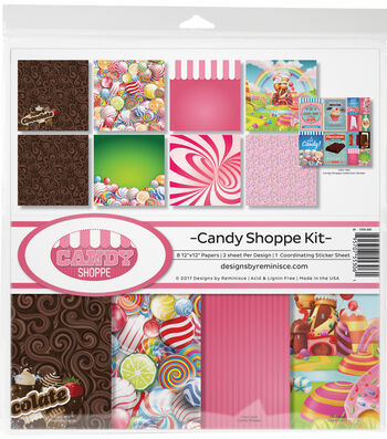 "Reminisce Collection Kit 12""X12""-Candy Shop, 8 Papers & Stickers"