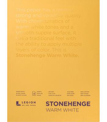 Legion Paper Stonehenge 15-sheet 9''x12'' 90 lb Paper Pad-Warm White