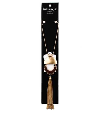 hildie & jo 6'' Metal Half Moon with Tassel Necklace