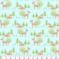Nursery Flannel Fabric-Deer Aqua