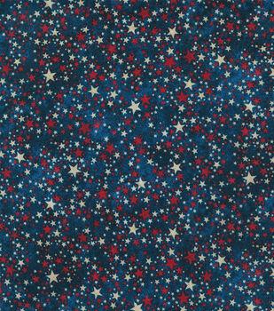 Patriotic Cotton Fabric-Cream & Red Multi Stars on Blue