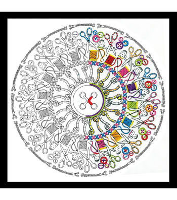 Design Works Zenbroidery Stamped Picture Kit-Sewing Mandala