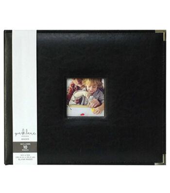 Park Lane 12''x12'' Leather Ring Binder-Black