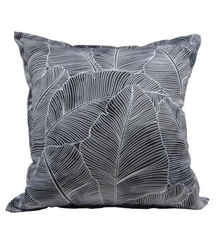 "Patio Oasis 17""x17"" Gray Palms Outdoor Pillow"