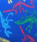 Doodles Cotton Interlock Fabric-Dino Skeletons on Navy
