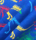 Doodles Cotton Interlock Fabric 57\u0022-Navy Dino Skeleton