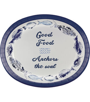 Printed Oval Plate-Indigo Mist Batik