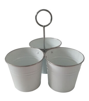 Patio Oasis White Utensil Bucket with Silver Trim