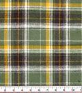 Plaiditudes Brushed Cotton Fabric -Green Black Yellow