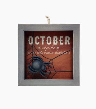 Maker's Halloween Spider Figural Gray Wood Word Block-October