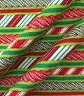 Doodles Christmas Interlock Cotton Fabric -Candy Cane Stripes