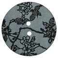 La Mode 1.38\u0027\u0027 Round Button-Black Floral