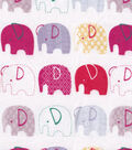 Snuggle Flannel Fabric -Elephants In Line