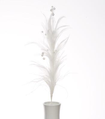 "Bloom Room 21"" Hackle Feather Floral Spray-White with Pearls"