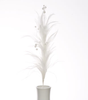 """Bloom Room 21"""" Hackle Feather Floral Spray-White with Pearls"""