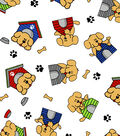 Snuggle Flannel Fabric -Puppies On Dog House